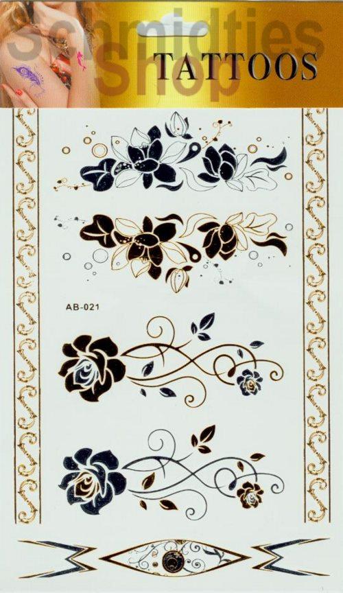 Gold-Silber Tattoos - 1 Bogen mit verschiedenen Motive (Nr.01)
