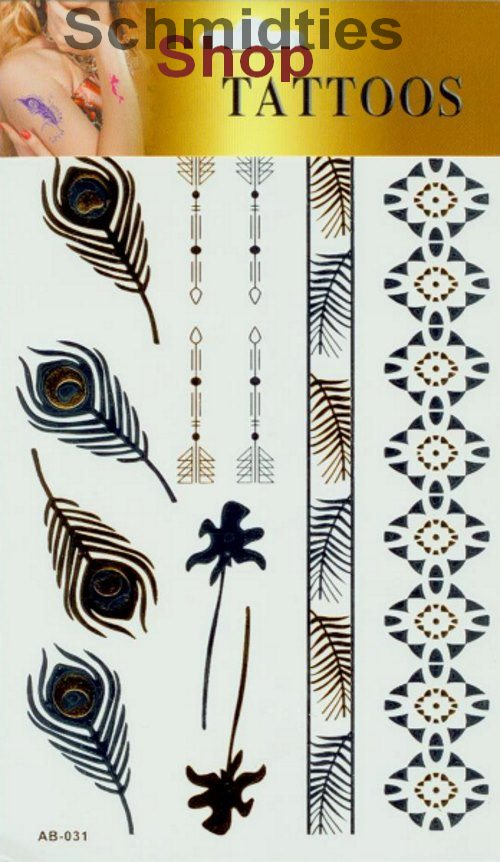 Gold-Silber Tattoos - 1 Bogen mit verschiedenen Motive (Nr.02)