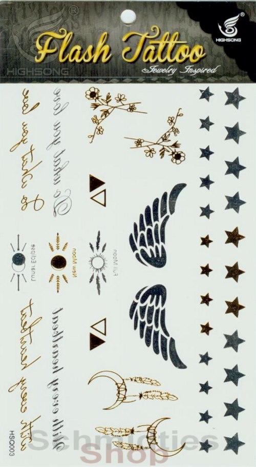 Flash Tattoo - 1 Bogen mit verschiedenen Motive (Nr.04)