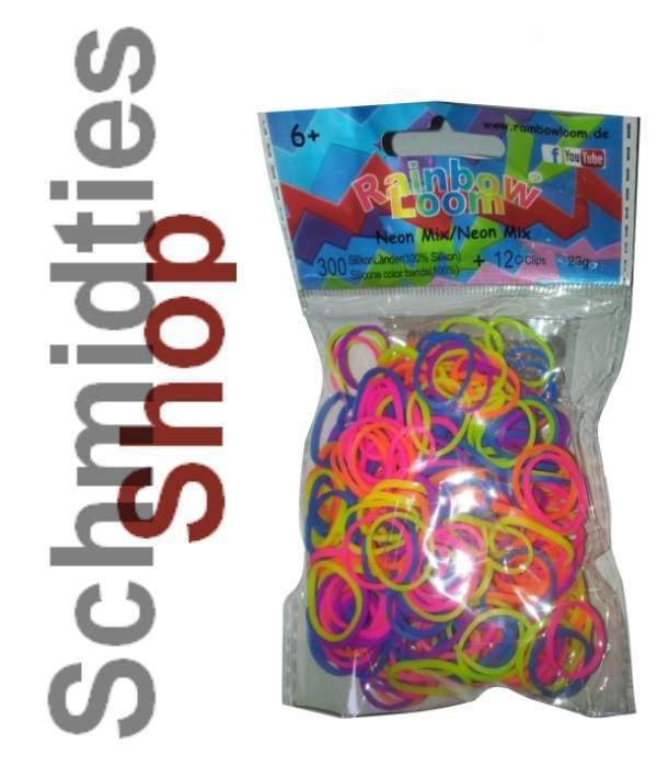 Rainbow Loom® Silikonbänder (089) Neon Mix, 300 Stk.+ 12Clips