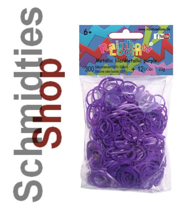 Rainbow Loom® Silikonbänder (327) Metallic Lila, 300 Stk.+12Clip
